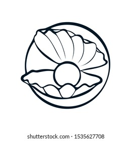 Pearl Shell logo / icon design. can be used as symbols, corporate identity, company logo, badges or others. Color and text can be changed according to your needs. - Vector graphics
