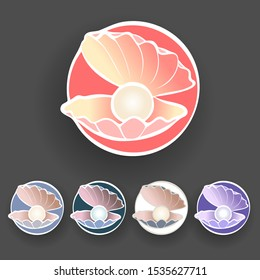 Pearl Shell logo / icon design collection. can be used as symbols, corporate identity, company logo, badges or others. Color and text can be changed according to your needs. - Vector graphics