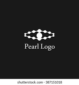 Pearl vector exclusive isolated abstract simple unusual perl. White single logo.