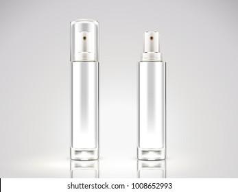 Pearl white spray bottle mockup, blank cosmetic bottle set in 3d illustration
