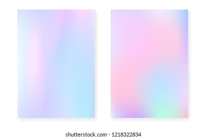 Pearlescent background with holographic gradient. Hologram cover set. 90s, 80s retro style. graphic template for flyer, poster, banner, mobile app. Vibrant pearlescent background set.