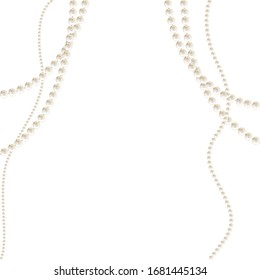 Pearls. Beads. Jewelry. Beautiful vector background. Garland. Festive decoration.