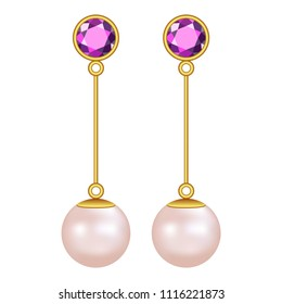 Pearls earrings mockup. Realistic illustration of pearls earrings vector mockup for web design isolated on white background