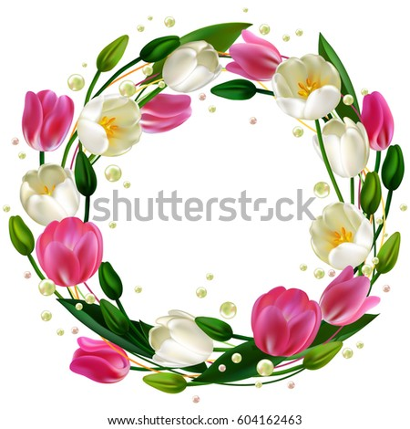 Pearls Realistic Tulip Wedding Decorations Trendy Stock Vector