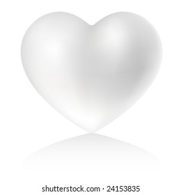 Pearly heart on white background (vector illustration).