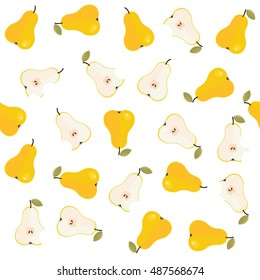 pears whole half and bitten messy food raw healthy fruit autumn seasonal seamless pattern on simple white background