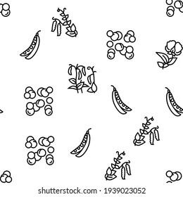Peas Beans Vegetable Vector Seamless Pattern Thin Line Illustration