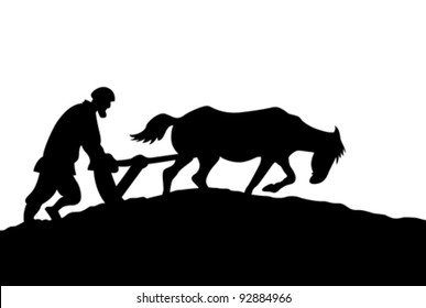 peasant silhouette on white background, vector illustration