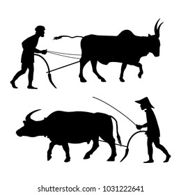Peasants plow the land with oxen. Set of vector black silhouettes on white background