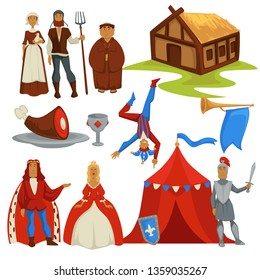 Peasants and royalty Medieval ages history isolated characters vector house with hay roof pork leg and goblet joker and trumpet king and queen deacon army tent and knight with sword ancient symbols.