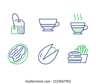 Pecan nut, Bombon coffee and Pistachio nut line icons set. Tea bag, Cafe creme and Burger signs. Vegetarian food, Cafe bombon, Brew hot drink. Hot coffee. Food and drink set. Vector
