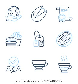 Pecan nut, Bombon coffee and Pistachio nut line icons set. Diploma certificate, save planet, group of people. Tea bag, Cafe creme and Burger signs. Vegetarian food, Cafe bombon, Brew hot drink. Vector