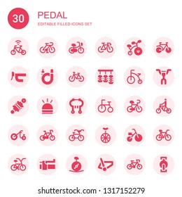 pedal icon set. Collection of 30 filled pedal icons included Bicycle, Bike, Handlebar, Pedals, Damper, Hooter, Brake, Tricycle, Unicycle, Pedal