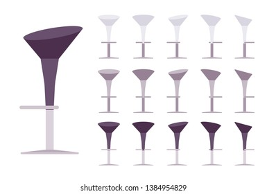 Pedestal barstool. Bar and cafe furniture, high dinning chair for home or restaurant, comfort form seat. Vector flat style cartoon illustration isolated on white background, different views and colors