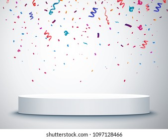 Pedestal with colorful confetti isolated on grey background. Vector illustration. Round podium. Winner concept