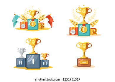 Pedestal with gold cup and medals set vector illustration. Composition consist of different types of golden and silver trophies on podiums flat style concept