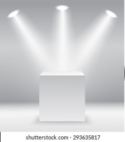 Pedestal with light source isolated on grey background, vector illustration.