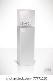 Pedestal top glass display cube case, eps10 vector