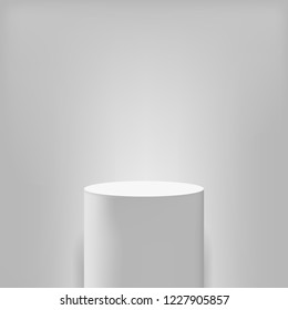 Pedestal or white round podium stand. Vector museum round column or pillar pedestal 3D realistic isolated mockup