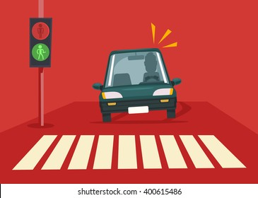 Pedestrian accident. Vector flat illustration