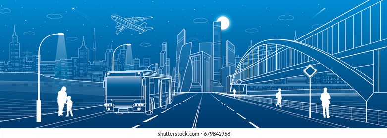 Pedestrian arch bridge. Bus rides on highway. City infrastructure, modern town in background, industrial architecture. People walking. Airplane fly. White lines, night scene, vector design art