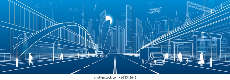 Pedestrian arch bridge. Wide highway. Road overpass. Urban infrastructure, modern city on background, industrial architecture. People walking. Truck rides. White lines, night scene, vector design art