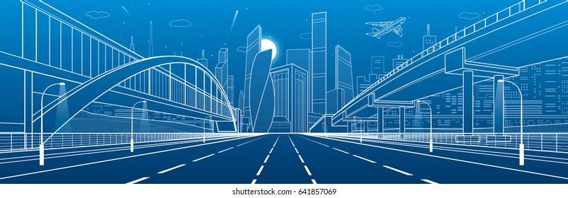 Pedestrian bridge across the highway. Road overpass. Urban infrastructure, modern city on background, industrial architecture. White lines illustration, night scene, vector design art