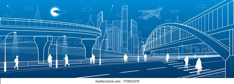 Pedestrian bridge across the highway. Road overpass. Urban infrastructure, modern city on background, industrial architecture. People walking. White lines illustration, night scene, vector design art