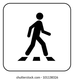 Pedestrian crossing - crosswalk flat icon symbol. Isolated on white, vector