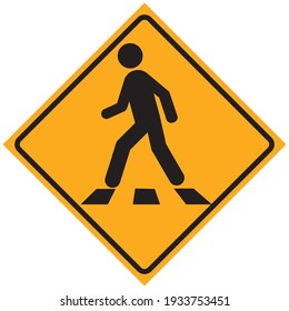 Pedestrian crossing icon. Zebra crossing. Vector icon isolated on yellow background.