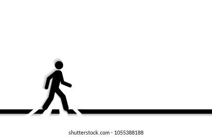 Pedestrian crossing line crosswalk, vector. Isolated on white