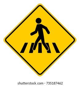 Pedestrian crossing sign, pedestrian crosswalk, yellow square warning sign, vector illustration.