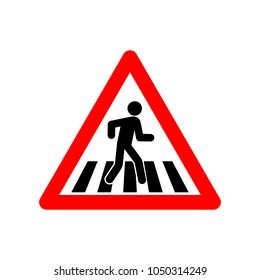 Pedestrian crossing sign vector icon.