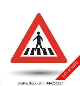 Pedestrian crossing traffic sign. Vector illustration of triangular sign for pedestrian crossing traffic sign isolated on white background.