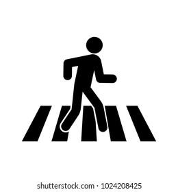 Pedestrian crossing vector icon.