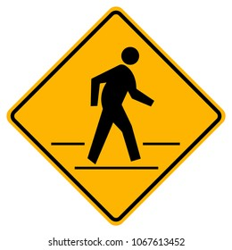 Pedestrian Crossing Warning Road Sign,Vector Illustration, Isolate On White Background Icon. EPS10