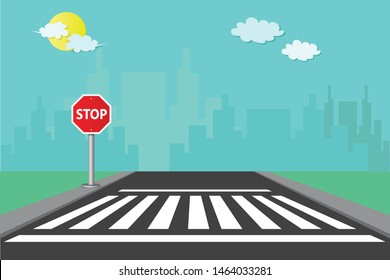 Pedestrian crossings with signposts stop with the city background vector Illustration