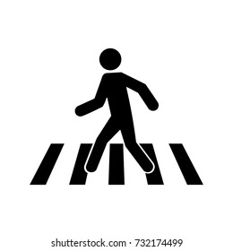 Pedestrian crosswalk icon, pedestrian crossing street symbol, black isolated vector illustration.