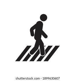 Pedestrian crosswalk icon design. Street crossing symbol vector sign isolated on white background.
