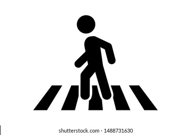 Pedestrian crosswalk icon template color editable, Street crossing symbol vector sign isolated on white background, Simple logo vector illustration for graphic and web design.