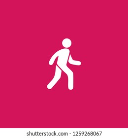 pedestrian icon vector. pedestrian sign on pink background. pedestrian icon for web and app