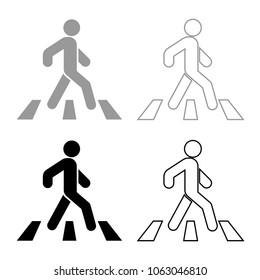 Pedestrian on zebra crossing icon set grey black color