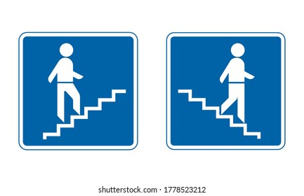 Pedestrian overpass and pedestrian underpass traffic sign. Stairs up and down road sign set. Man on stairs going up and going down. Information about type of crossing road.