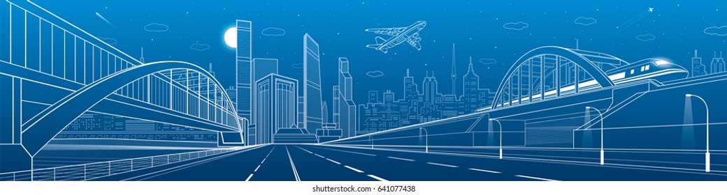 Bridge blueprint images stock photos vectors shutterstock pedestrian and railway bridges over highway urban infrastructure panorama modern city on background malvernweather Choice Image