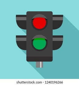 Pedestrian semaphore icon. Flat illustration of pedestrian semaphore vector icon for web design