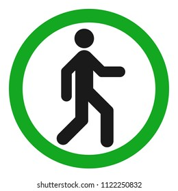 Pedestrian silhouette in green circle. Vector icon.