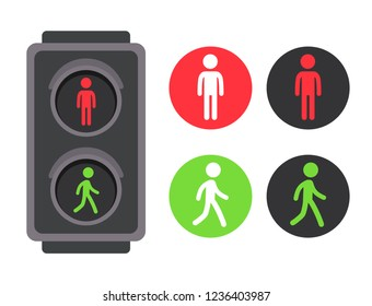Pedestrian traffic light with red and green man icon set. Vector illustration, simple flat cartoon symbols.