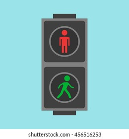 Pedestrian traffic lights red and green on blue background. Flat design. Vector illustration. EPS 8, no transparency