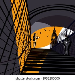 Pedestrian underpass in London. A guy plays the guitar and a girl plays the violin at sunset. Vector illustration.