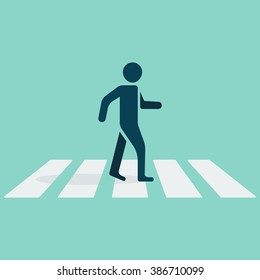 Pedestrian walking over a zebra crossing vector icon.
